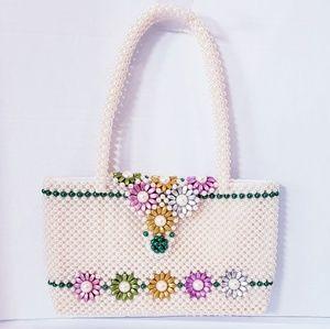 Handbags - Ivory Beaded Floral Handbag